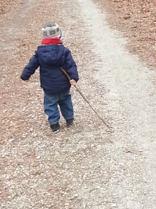 My little man, enjoying his hike!